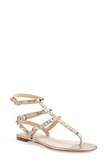 Women's Valentino 'rockstud' Gladiator Sandal, Size 6.5us / 36.5eu - Metallic