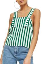 Women's Topshop Stripe Button Camisole Us (fits Like 0) - Green
