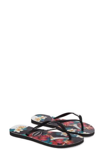 Women's Havaianas Slim Tropical Floral Flip Flop /40 Br - Black