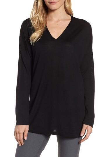 Petite Women's Eileen Fisher Merino Wool Tunic Sweater, Size P - Black