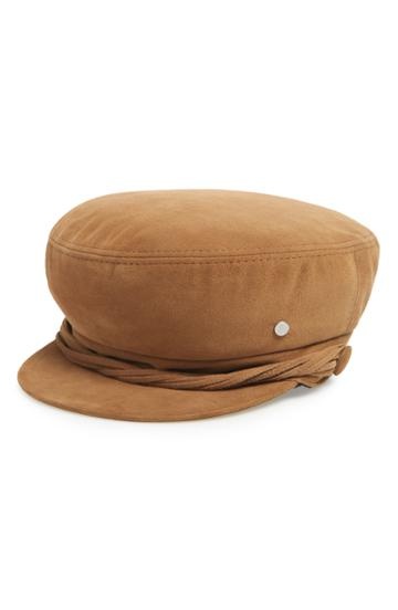 Women's Maison Michel New Abby Suede Baker Boy Cap - Brown