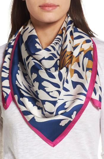 Women's Bcbg Square Silk Scarf, Size - Blue