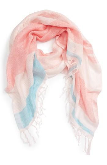 Women's Caslon Stripe Linen Blend Scarf, Size - Pink