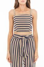 Women's Faithfull The Brand Fortelina Stripe Crop Top - Black