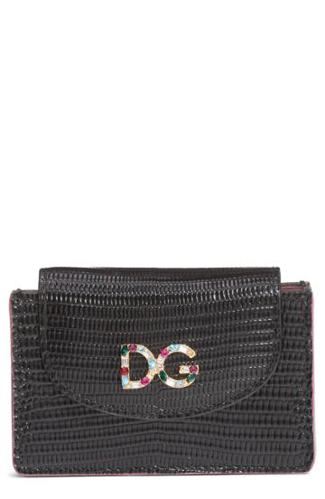 Women's Dolce & Gabbana Crystal Logo Embossed Leather Wallet -
