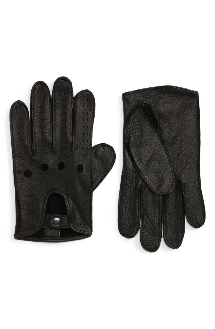 Men's Nordstrom Men's Shop Leather Driving Glove /x-large - Black