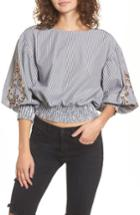 Women's Bp. Embroidered Puff Sleeve Crop Top, Size - Black