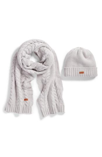 Women's Barbour Cable Knit Hat & Scarf Set - White