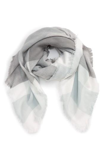 Women's Accessory Collective Plaid Scarf, Size - Grey