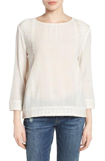 Petite Women's Caslon Embroidered Crinkle Cotton Blend Top P - Ivory