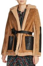 Women's Maje Shearling Lined Leather Coat - Beige