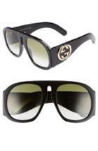 Women's Gucci 57mm Aviator Sunglasses - Black