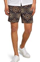 Men's Topman Tapestry Print Chino Shorts - Black
