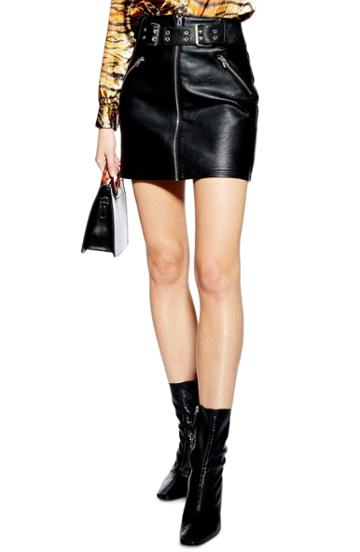 Petite Women's Topshop Beatrix Faux Leather Miniskirt P Us (fits Like 00p) - Black