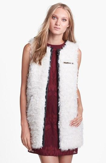 Astr Faux Leather Trim Fuzzy Vest