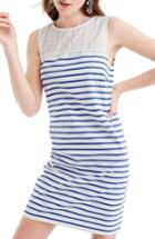 Women's J.crew Eyelet Yoke Striped Dress, Size - Ivory