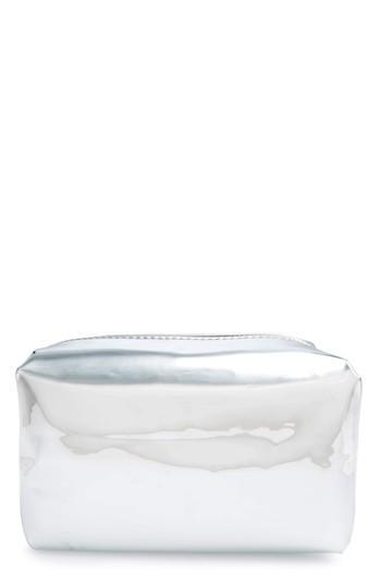 Yoki Bags Metallic Cosmetics Bag, Size - Silver