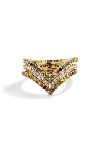 Women's Baublebar Set Of 3 Crystal Rings