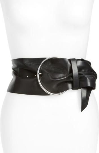 Women's Iro Balacia Wide Lambskin Leather Belt - Black