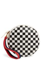 Clare V. Checkered Leather Circle Clutch - Black