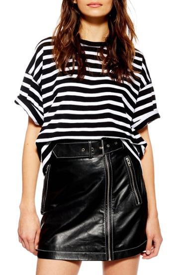 Petite Women's Topshop Stripe Boxy Tee - Black
