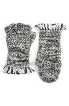 Women's Rebecca Minkoff Mouline Fringe Convertible Knit Mittens, Size - Black