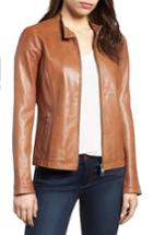 Women's Lamarque Perforated Leather Biker Jacket - Brown