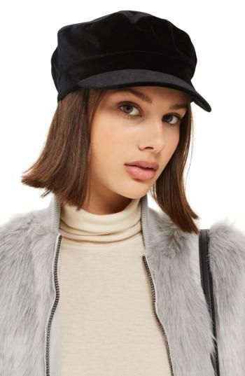 Women's Topshop Velvet Baker Hat - Black