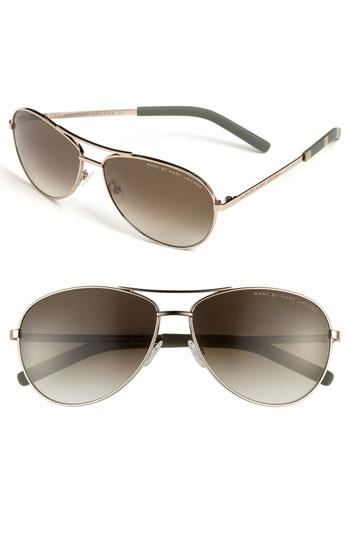 Marc By Marc Jacobs 59mm Aviator Sunglasses Light Gold/ Gold/