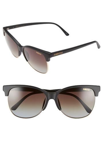 Women's Smith 'rebel' 57mm Cat Eye Sunglasses - Matte Black/ Polarized Brown