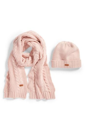 Women's Barbour Cable Knit Hat & Scarf Set - Pink