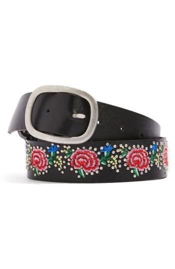 Women's Topshop Floral Embroidered Belt - Black