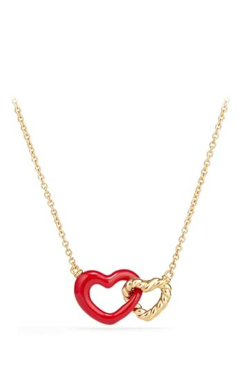 Women's David Yurman Double Heart Pendant Necklace With Red Enamel And 18k Gold