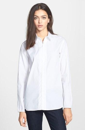Theory 'keetly' Stretch Cotton Shirt White