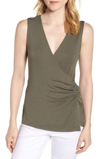Women's Bobeau Side Knot Ruched Tank Top - Green