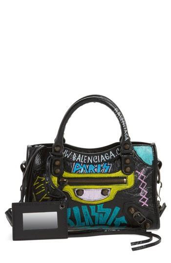Balenciaga Mini City Graffiti Leather Tote - Black