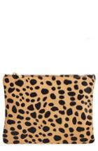 Bp. Leopard Print Genuine Calf Hair Clutch -