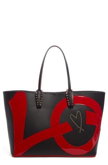 Christian Louboutin Cabata Love Embellished Leather Tote - Black