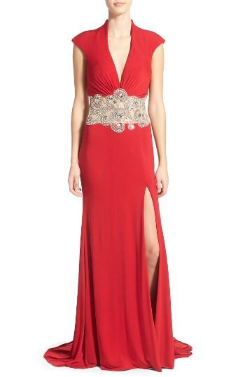 Women's Mac Duggal Embellished Gown - Red