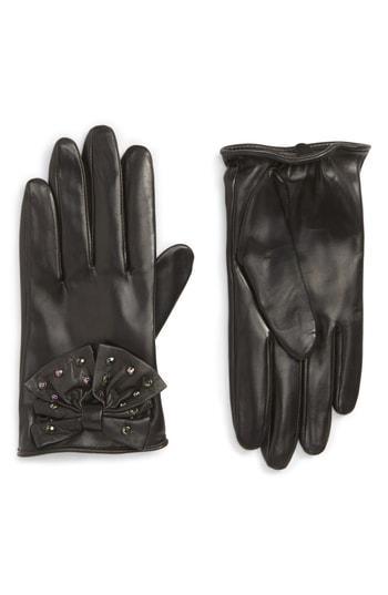 Women's Nordstrom Bow Short Leather Gloves - Black