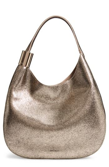 Jimmy Choo Steve Metallic Leather Hobo - Beige