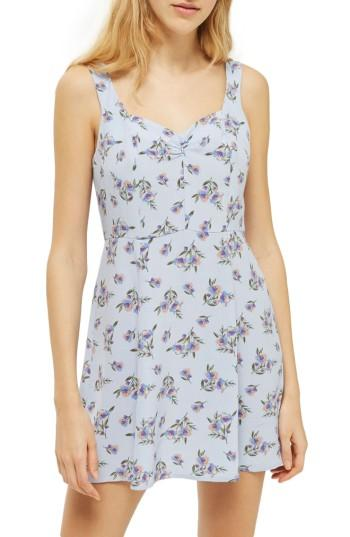 Women's Topshop Floral Sundress Us (fits Like 0-2) - Blue
