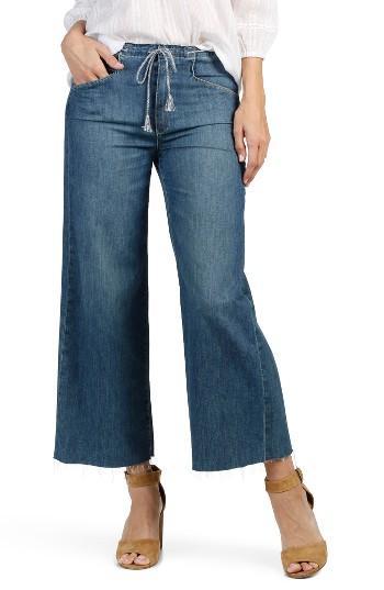 Women's Paige Lori Raw Waist Crop Wide Leg Jeans - Blue