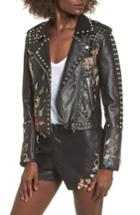 Women's Blanknyc Embroidered Studded Moto Jacket - Black