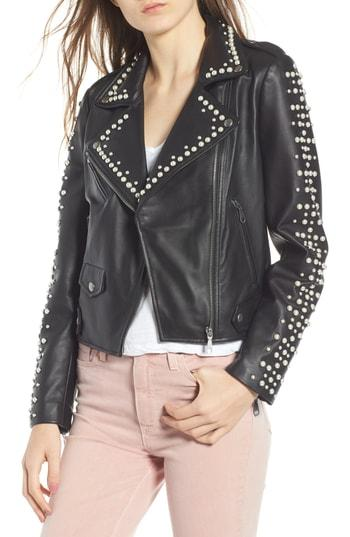 Women's Rebecca Minkoff Wes Embellished Moto Jacket - Black