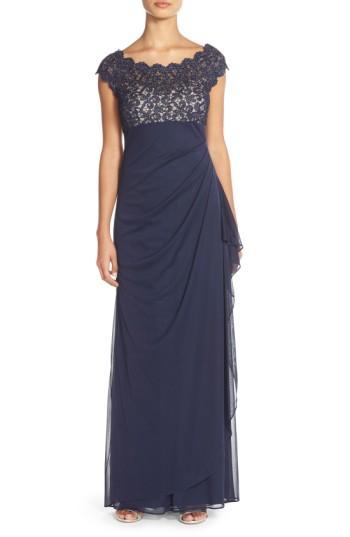 Petite Women's Xscape Metallic Lace & Jersey Gown P - Blue
