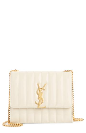 Women's Saint Laurent Vicky Patent Leather Wallet On A Chain - White