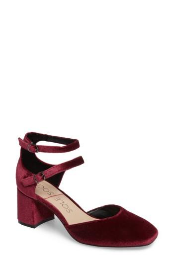 Women's Sole Society Selby Double Strap Pump M - Red