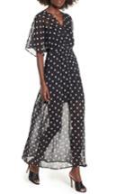 Women's Love, Fire Chiffon Maxi Dress - Black