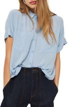 Women's Topshop Joey Shirt Us (fits Like 0) - Blue